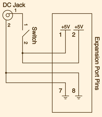 Power jack and switch schematic